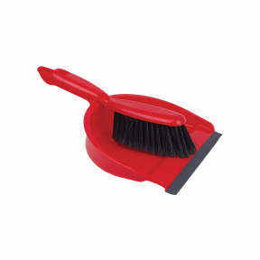 Professional Dustpan and Brush Set, Red