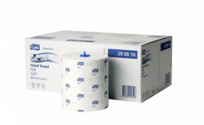 Tork H1 290016 Wiping Rolls, 2ply, White
